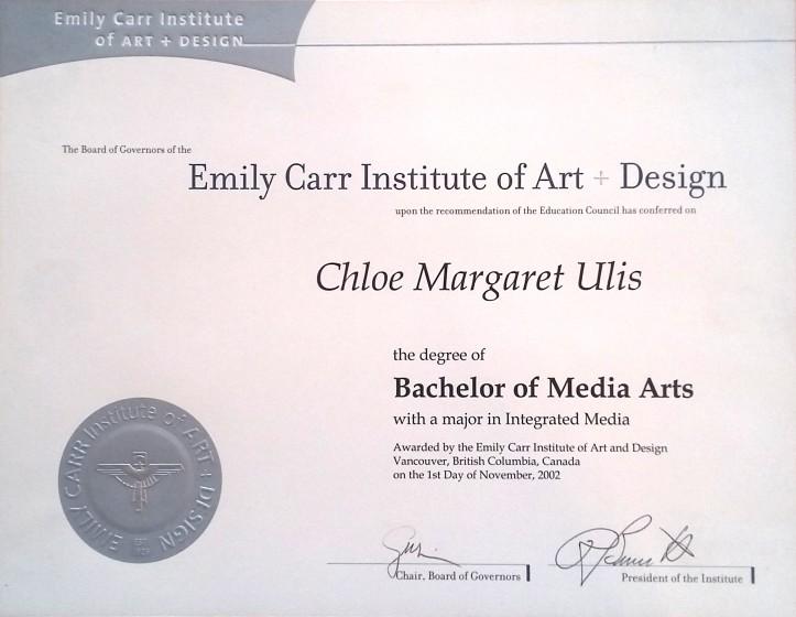 Certifications - Chloe Ulis